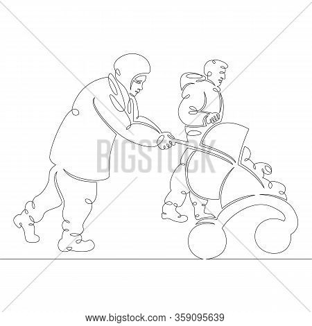 One Continuous Drawing Line Muslim Migrant Family With Pram.single Hand Drawn Art Line Doodle Outlin