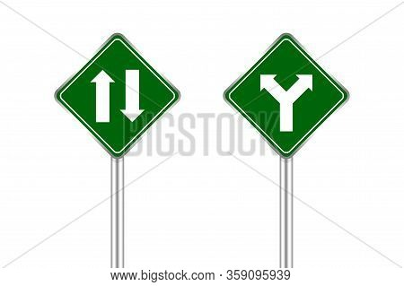Road Sign Of Arrow Pointing Two Way Traffic Ahead And Crossroad, Traffic Road Sign Green Color Isola