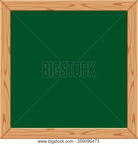Blackboard Wooden Frame For Banner And Copy Space Text, Chalkboard Frame Blank For Menu Restaurant,