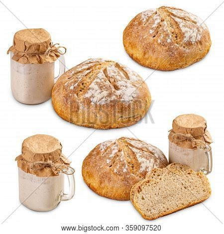Set Of Freshly Baked Bread And Active Sourdough In A Jar Isolated On White Background