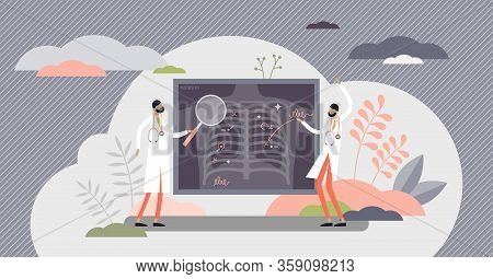 Lung Health Vector Illustration. Covid-19 X-ray Flat Tiny Persons Concept. Hospital Radiology Result