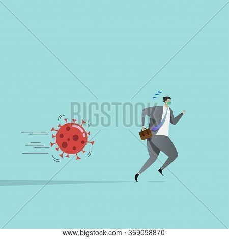Business People Run Away From Coronavirus Pathogens, Affected By The Outbreak. The Impact Of The Cov