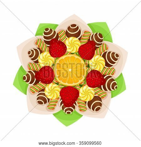 Bouquet Of Striped Sweets And Chocolate Covered Candies With Orange Slice In The Middle In Paper Wra