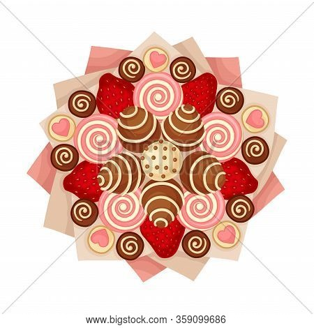 Bouquet Of Swirly Sweets And Chocolate Covered Candies In Paper Wrap View From Above Vector Illustra