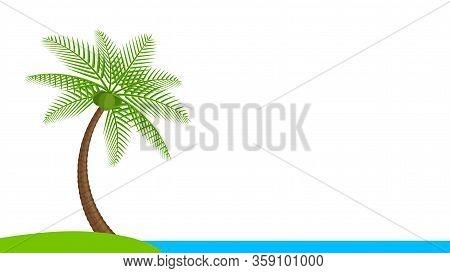 Coconut Tree Simple At Seaside Coast, Illustration Coconut Palm Tree, Palm Tree On Small Hill Island