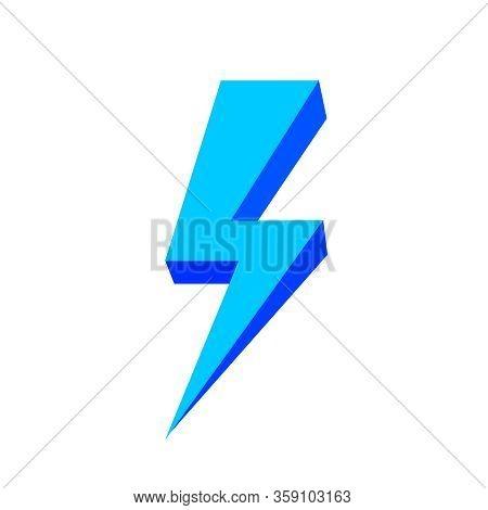 Blue Thunder Icon Isolated On White Background, Thunder Storm Symbol Blue Flat Lay, Clip Art Thunder