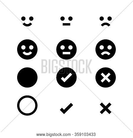Black Icon Emotions Face, Emotional Symbol And Approval Check Sign Button, Black Emotions Faces And