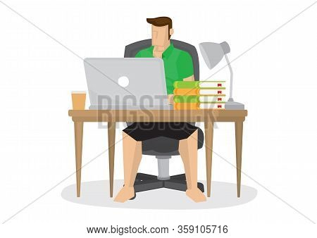 Casual Young Man Working At Home With His Computer. Concept Of Online Merchant, Entrepreneurs Or Pas