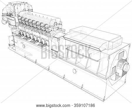 Generator. Diesel And Gas Industrial Electric Generator. The Layers Of Visible And Invisible Lines A