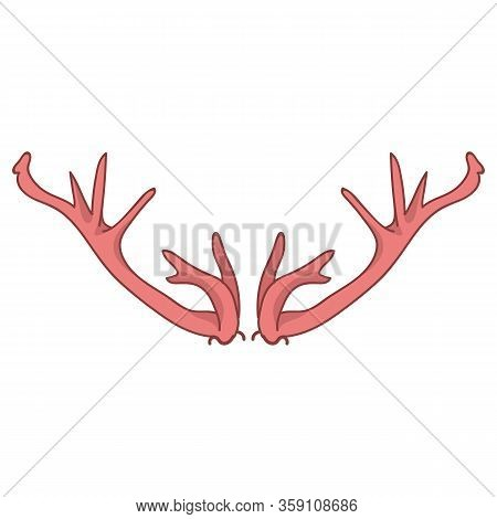 Pink Deer Antler Vector Clipart. Ditzy Girly Coral Red Flat Color Illustration. Hand Drawn Forest An