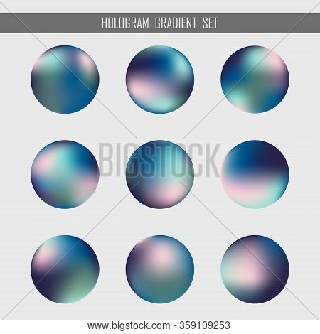 Abstract Gradient Hologram Orb Set Design Element Background. Use For Ad, Poster, Template Design, A