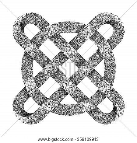 Stippled Ringed Cross. Celtic Knot With Circle Symbol Made Of Intersected Strips. . Textured 3d Illu