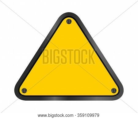 Yellow Triangle Emblem Notice Isolated On White Background, Empty Warning Sign Template, Blank Trian