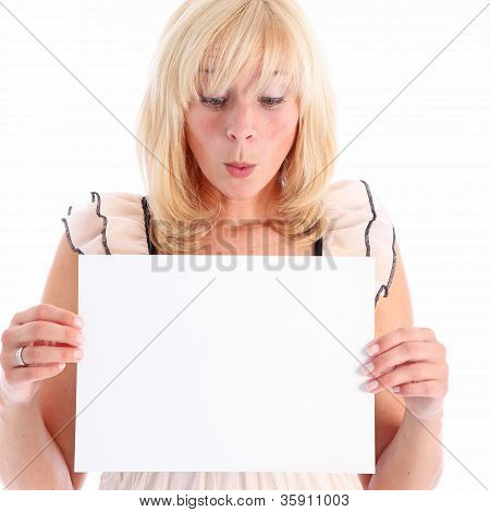 Woman Looking At Blank Sign In Admiration