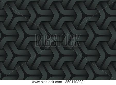 Black Seamless Decorative Pattern Of Weaved Hexagonal Stripes. Vector Dark Texture Repeating Geometr