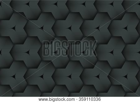 Black Seamless Decorative Pattern Of Woven Hexagonal Stripes. Vector Dark Texture Repeating Geometri