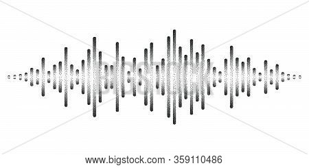 Graphic Display Of Sound Waves Stylized With Stippled Nascent Lines. Dynamic Equalizer Visual Effect