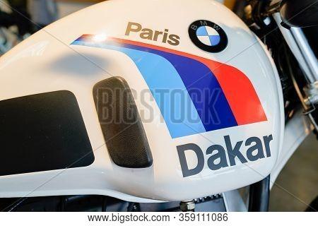 Bordeaux , Aquitaine / France - 02 15 2020 : Bmw Motorbike Logo Sign Gs Vintage Paris Dakar Famous M