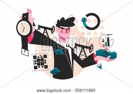 Time Is Money Vector Illustration. Guy In