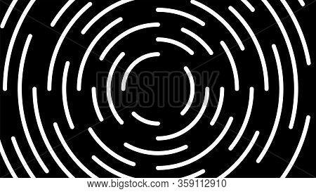 Circle Line White Swirl Burst On Black Background, Swirl Circle Art Line Spiral Shape, Cycle Spiral
