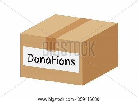 Donation Box Closed Isolated On White Background, Closed Box For Donations, Illustration Of Donate C