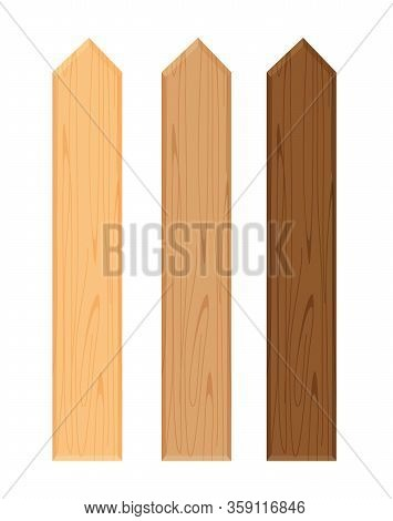 Wooden Fence Different Color Collection Isolated On White Background, Plank Panel Of Fence Board, Pa