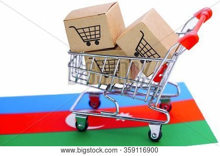 Box With Shopping Cart Logo And Azerbaijan Flag : Import Export Shopping Online Or Ecommerce Finance