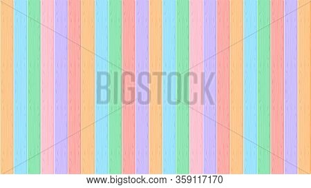 Wooden Wall Pastel Soft Color For Background, Multi Color Wooden Wall Strip, Rainbow Colored Soft Wo