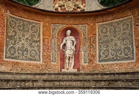 Salzburg, Austria - May 28, 2019: One Of The Many Baroque Or Classical Statues At The Hellbrunn Esta