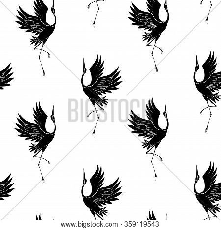 Japanese Pattern. Seamless Vector Ornament With Traditional Motives. Japanese Pattern With Storks An