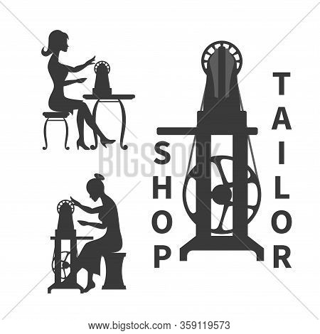 Retro Sewing Machine Isolated On White. Sewing Logo Concept. Silhouette Of Woman Sitting With Sewing