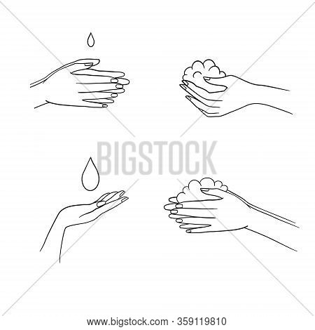 Steps To Hand Washing For Prevent Illness And Hygiene, Keep Your Healthy, Outline Icons, Sanitary, I