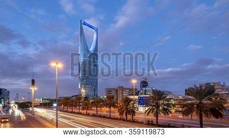 Saudi Arabia, Riyadh / Ksa - Jan 01 2020: Saudi Arabia Riyadh Landscape At Blue Hour - Riyadh Tower