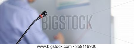 Motivational Classroom Training With Microphone. Speaker Fulfills Topic To Level Its Everyday Use. P