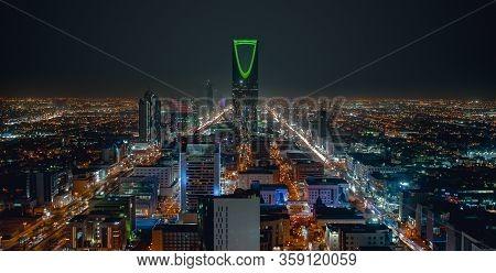 Saudi Arabia, Riyadh / Ksa - Oct 24 2019: Saudi Arabia Riyadh Landscape At Night - Riyadh Tower King