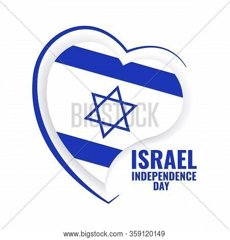Vector Illustration Of Independence Day Of Israel. Israel Flag In Heart Shaped