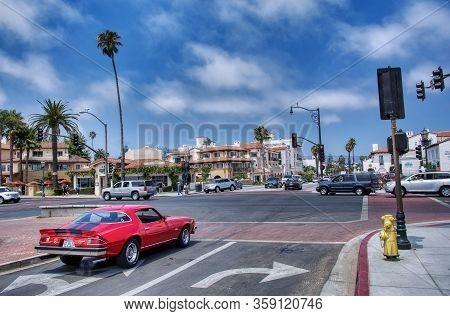 Santa Barbara, California - July 28, 2017: Chevrolet Camaro American Old Car Driven By Santa Barbara
