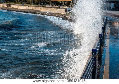 Powerful Waves Breaking At Seawall During Storm At Daytime In Istanbul.