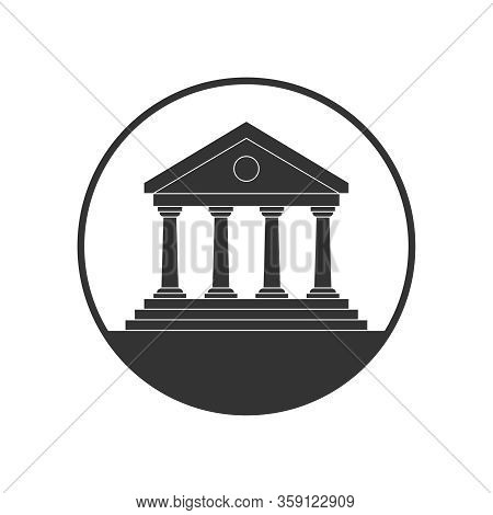 Public Building Graphic Icon. Building In The Circle Sign Isolated On White Background. Vector Illus