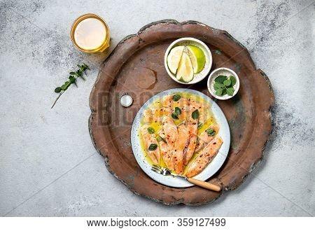Latin American Italian Dish Crudo De Salmon Raw Salmon Fish Platter Marinated In Lemon Juice And . T