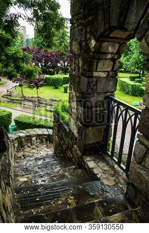 The Stairs Who Climb To The Royal Court And The Central Park. Piatra Neamt, Romania.