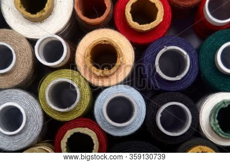 A Set Of Threads Of Different Colors. Many Threads For Sewing And Needlework Are Different In Color.