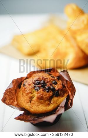 Homemade Delicious Chocolate Muffin. Homemade Bakery, Close Up, Selective Focus