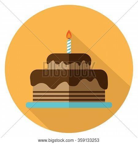 Chocolate Birthday Cake Icon Flat Design On Yellow Background In Round Shape. Cake For Birthday Cele