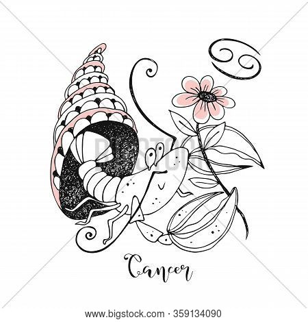 Zodiac Sign Cancer. Cute Crustacean With A Flower Sitting In A Shell. Vector