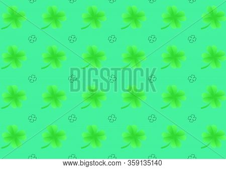 This Is A Vector Design Using Seamless Patterns That Leaves Green Shamrocks And The Outline Black Co