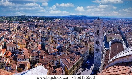 Florence, Italy - June 29, 2018: Panorama Of Cathedral, The Dome Of Brunelleschi, Campanile Di Giott