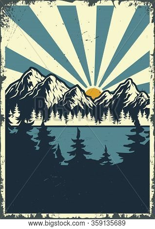 Nature Landscape At Sunrise Colorful Poster With Trees Mountains And Radial Background In Vintage St