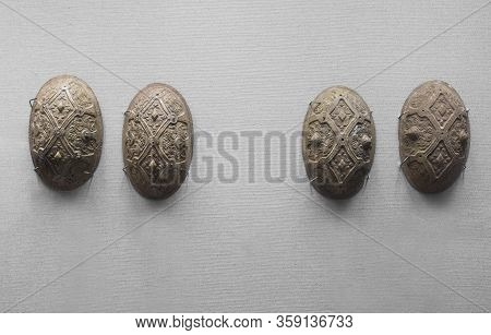 Dublin, Ireland - Feb 20th, 2020: Viking Oval Brooches. Archaeology National Museum Of Ireland