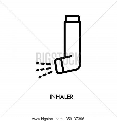 Inhaler Icon Isolated On White Background. Breather For Cough Relief, Inhalation, Allergic Patient.